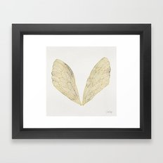 Cicada Wings in Gold Framed Art Print