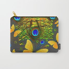 GREEN PEACOCK FEATHERS YELLOW BUTTERFLIES Carry-All Pouch