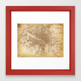 map of Paris 1843 Framed Art Print