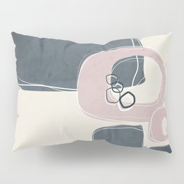 Retro Abstract Design in Shell Pink and Peninsula  Blue Pillow Sham
