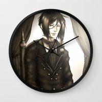 kuroshitsuji Wall Clocks featuring Sebastian Michaelis - The Watchdog's Butler by Lalasosu2