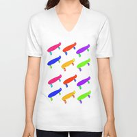 skateboard V-neck T-shirts featuring Skateboard Pattern by Jaime Cartwright