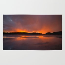 Sunset With Orange Sky Reflections On The Icy Lake #decor #society6 #homedecor #buyart Rug