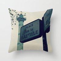 bastille Throw Pillows featuring Bastille by iokk