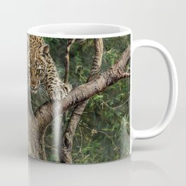 Amur Leopard Cub in Tree Coffee Mug