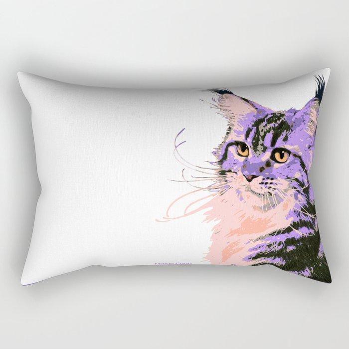 Maine Coon Cat Purple/Peach/Black Rectangular Pillow