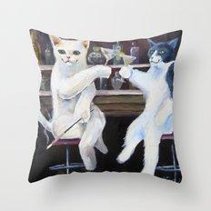 Social Cats  Throw Pillow