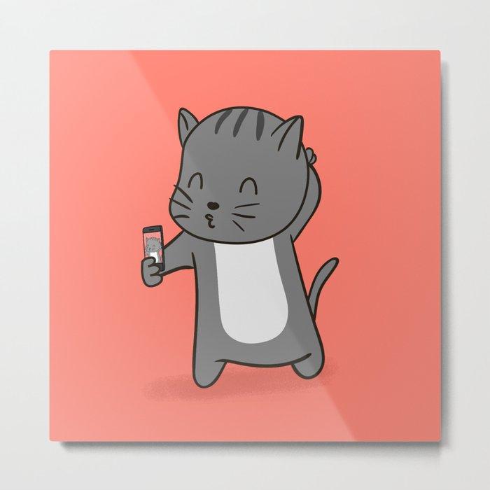 Selfie Kitty Metal Print