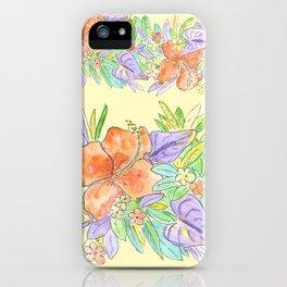 hawaiian tropical flowers yellow iPhone Case