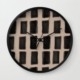 Brush Strokes Vertical Lines Black on Nude Wall Clock