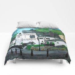 The Oldest Inn In England Acrylic Fine Art Comforters