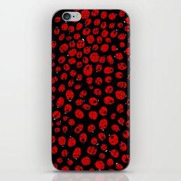 Ladybugs (Red on Black Variant) iPhone Skin