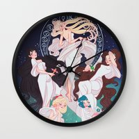 mucha Wall Clocks featuring Sailor Mucha by Dixie Leota