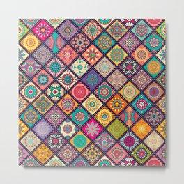 Diagonal Mandala Quilt Bee Metal Print