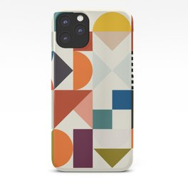 mid century retro shapes geometric iPhone Case