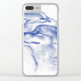 Two Wolves In Blue Art Drawing Clear iPhone Case