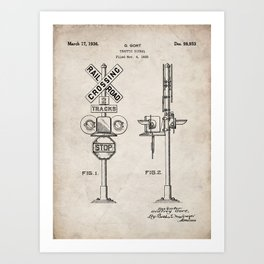 Railroad Crossing Patent - Train Crossing Art - Antique Art Print
