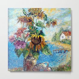 Bouquet with sunflowers with landscape by David Burkliuk Metal Print