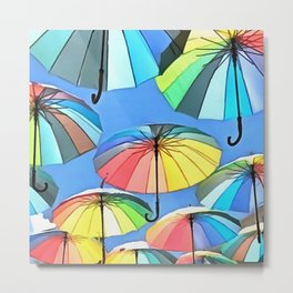 Whimsical Floating Umbrellas Metal Print