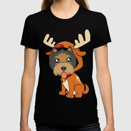 Terrier Christmas Dog T-shirt Design On Xmas Eve or Day Paw Paws Pet Breed Dogs Christmas Tree T-shirt
