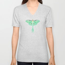 Luna Moth (Actias luna) watercolor painting Unisex V-Neck