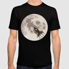 Around the Moon Black Mens Fitted Tee X-LARGE