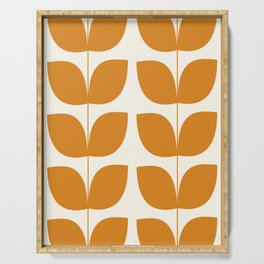 Mid Century Modern Leaves Orange Serving Tray