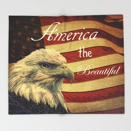 America the Beautiful Rustic Flag A109 Throw Blanket