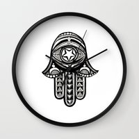 hamsa Wall Clocks featuring Hamsa by ArikaDoe