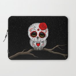 Adorable Red Day of the Dead Sugar Skull Owl Laptop Sleeve