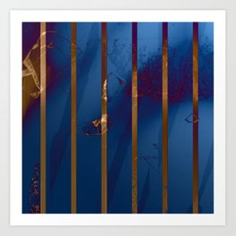 Electric Blue Abstract with Gold Stripes Art Print
