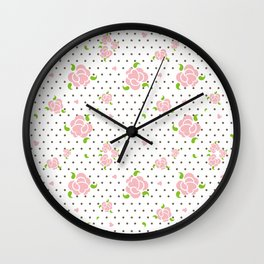 """Roses & Dots"" Wall Clock"