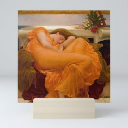 Flaming June Oil Painting by Frederic Lord Leighton Mini Art Print