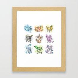 Eeveelutions - Splatter Framed Art Print