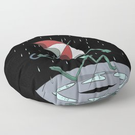 A funny frog with an umbrella in the rain Floor Pillow