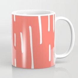hip white lines on Living Coral Coffee Mug
