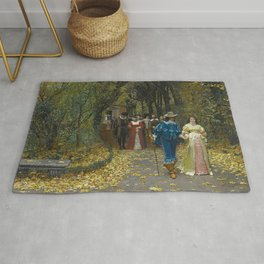 The Lovers (Les Fiances) Amazing Landscape Painting by Firmin-Girard Rug