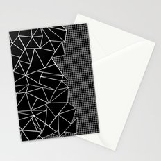 Abstract Grid Outline White on Black on Side Stationery Cards