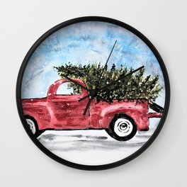 Vintage Red Christmas Truck with Tree Watercolor Wall Clock