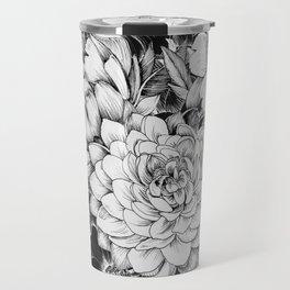 Dahlias & Peonies Black Travel Mug