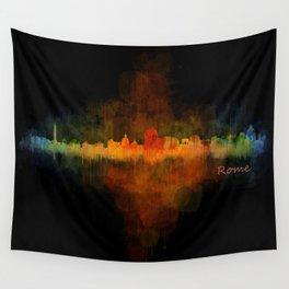 Rome city skyline HQ v04 Dark Wall Tapestry