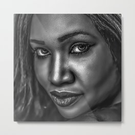 American Beauty - Portrait of a Young African American Woman Metal Print