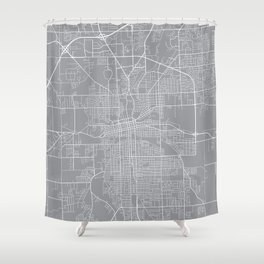 Fort Wayne Map, Indiana USA - Pewter Shower Curtain