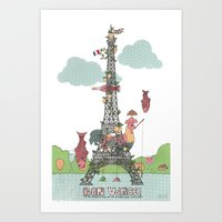 eiffel tower Art Prints featuring Eiffel Tower by ShangheeShin