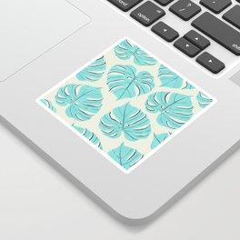 Monstera leaf pattern in pastel blue Sticker