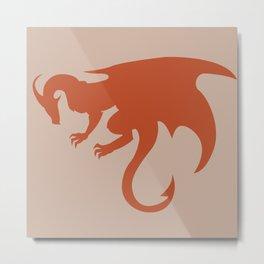 Orange Dragon Emblem Metal Print