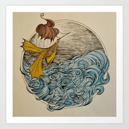 The Ship and The Swirling Sea Art Print