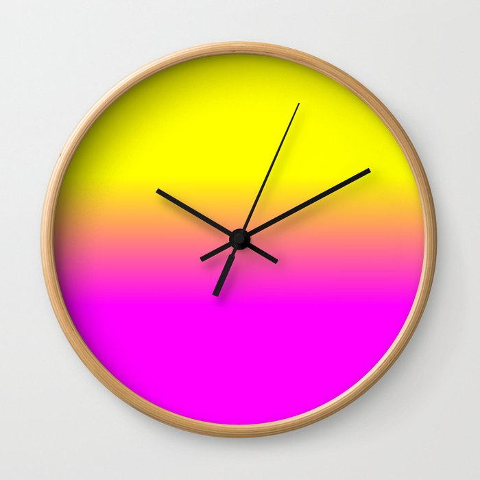 Neon Yellow and Bright Hot Pink Ombré  Shade Color Fade Wall Clock