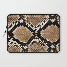 Pastel brown black white snakeskin animal pattern Laptop Sleeve