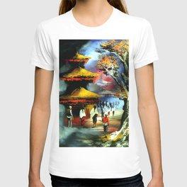Panoramic Night View Of Nyatapola Temple T-shirt